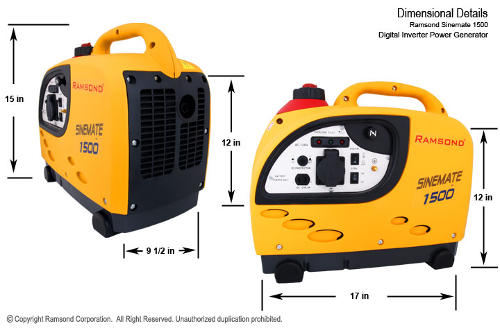 Sinemate 1500 Digital inverter Gasoline Generator Dimensions