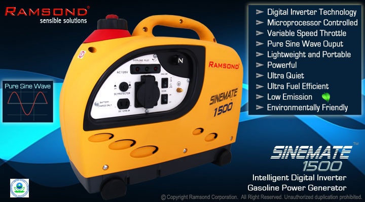 Ramsond® Sinemate™ 1500 Portable Digital Inverter Generator
