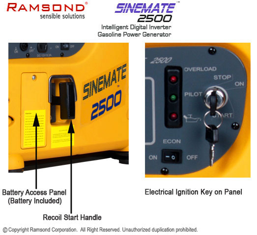 Sinemate 2500 electrical and recoil start