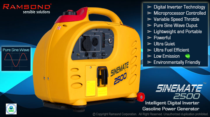 Ramsond® Sinemate™ 2500 Portable Digital Inverter Generator