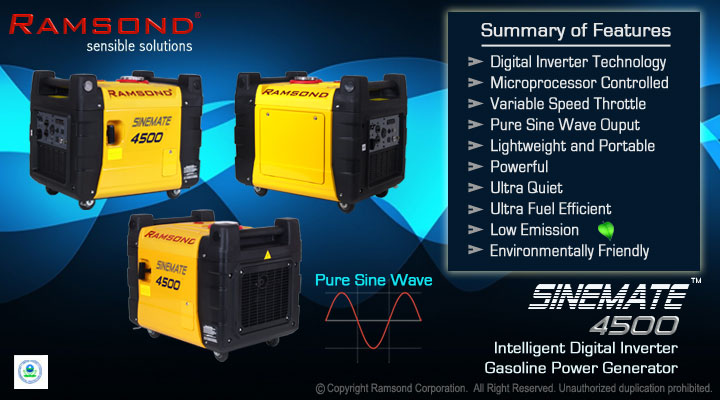 Sinemate 4500 Digital inverter Gasoline Generator ??Features