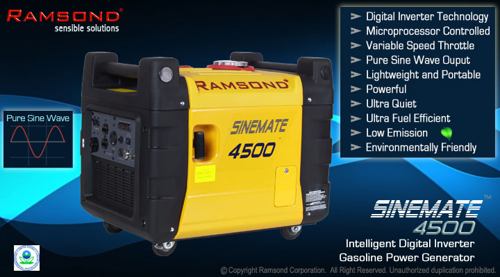 Ramsond® Sinemate™ 4500 Portable Digital Inverter Generator